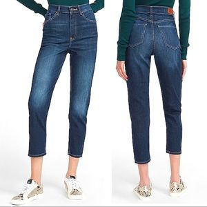 Express Super High Rise Mom Jeans Faded Dark Wash Stretch Denim Crop Length